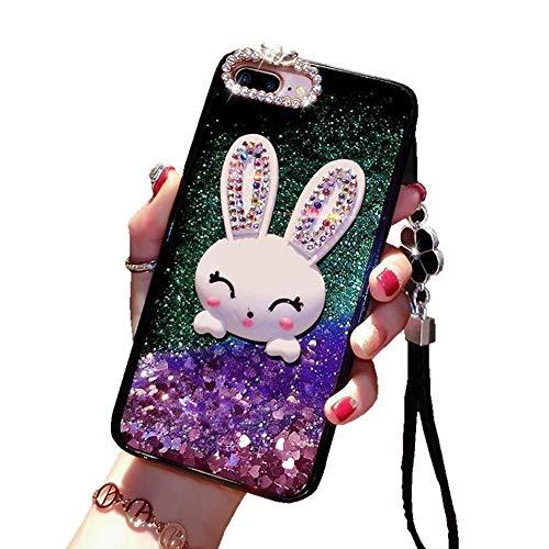 (Glitter Liquid Case for Huawei Mate 20 Lite Purple, Mistars Luxury Bling Diamond Soft TPU Bumper with Cute 3D Bunny Stand Function Design Protective Case for Huawei Mate 20 Lite)