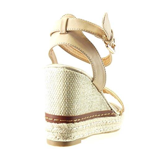 Angkorly - Chaussure Mode Sandale Espadrille plateforme femme strass diamant lanière corde Talon compensé plateforme 10 CM - Beige