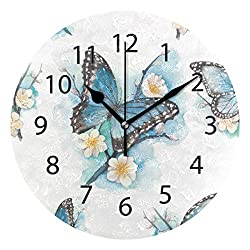 LONK Wall Clock,Round 10 Inch Diameter Silent Flower Butterfly Art Decorative for Home Office Kitchen Bedroom