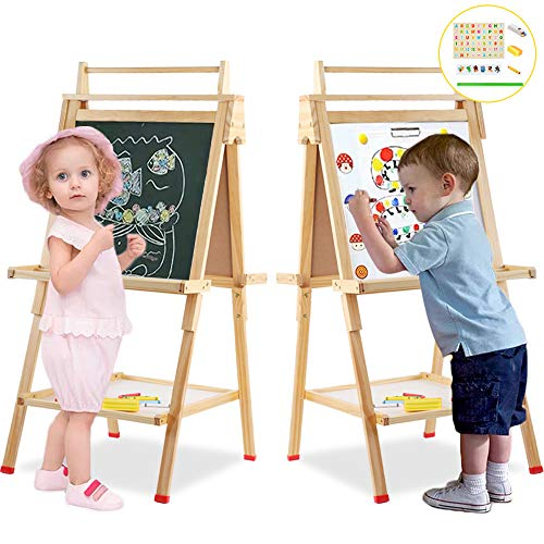Wooden Art Easel Children Easel with Magnetic Chalkboard Kids Black/White Board Easel with Paper Roll Numbers Other Accessories for Kids,Toddlers