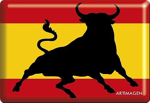 Artimagen Imán Bandera España con Toro Saltando 80x55 mm ...