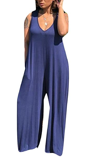 7caf855fbf351 Amazon.com: FLCH+YIGE Women's Deep V Neck Loose Fit Full Length Sleeveless  Jumpsuit with Hoodie: Clothing
