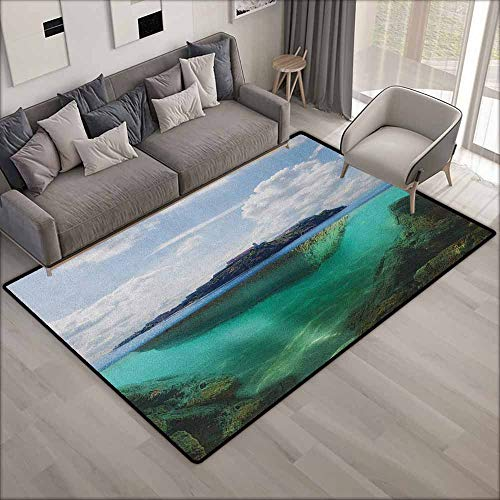 Collection Area Rug,Island Floating Rock and Lighthouse in Crystal Clear Atlantic Water Mist Nature Photo,Children Crawling Bedroom Rug,5'10