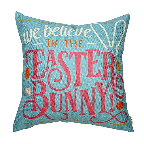 Fjfz Rustic Farmhouse Decor Easter Sign Decoration We Believe in The Easter Bunny Cotton Linen Home Decorative Throw Pillow Case Cushion Cover with Words for Sofa Couch, 18