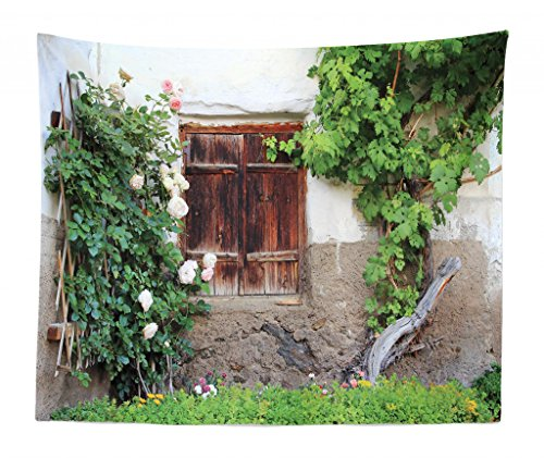 (Lunarable Shutters Tapestry King Size, The Old Windows Wooden Shutters Roses Wine Country House Backyard, Wall Hanging Bedspread Bed Cover Wall Decor, 104 W X 88 L Inches, Green White Brown)