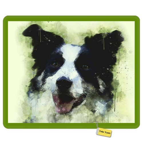 Border Collie Watercolor - Gaming/Working Mousepad Border Collie Dog - Green Watercolor - Doggy Lover Round Rectangle Non-Slip Rubber Comfortable Desk Mousepad Standard Mouse Pad Gift 9.5