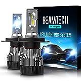 BEAMTECH H4 LED Headlight Bulbs,6500K 10000 Lumens Extremely Super Bright 9003 Hi/Lo 30mm Heatsink Base CSP Chips Conversion Kit,Xenon White