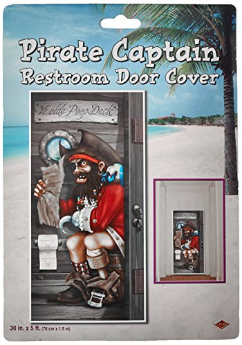 Pirate Captain Restroom Door Cover Party Accessory (1 count) (1/Pkg) ()