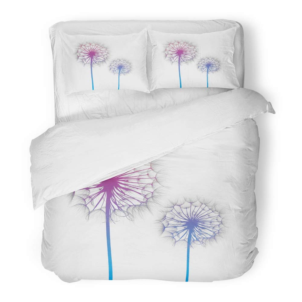 Emvency 3 Piece Duvet Cover Set Brushed Microfiber Fabric Breathable Colorful Spa Dandelion Flower on White Silhouette Green Beauty Biology Blossom Bedding Set with 2 Pillow Covers Full/Queen Size