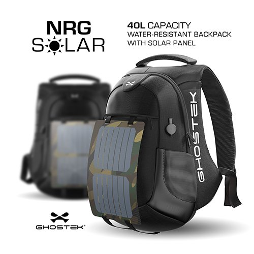 Ghostek NRGsolar Series 40L Eco Computer Laptop Messenger Backpack Book Bag + 16,000mAh Power Bank with 5 USB Ports | Water Resistant | 8.8-Watt Solar Panel | Laptops Up To 15.6