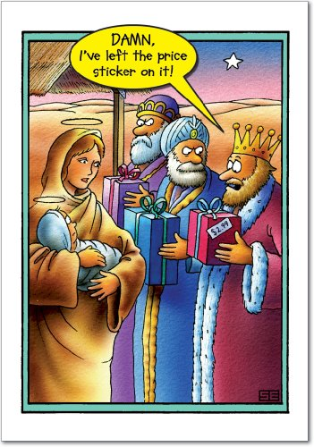 Card Three Kings Holiday (12 'Price Tag Three Wise Men' Boxed Christmas Cards with Envelopes (4.75 x 6.625 Inch), Funny Magi Cartoon Christmas Notes, Hilarious 3 Kings Holiday Notes, Silly Nativity Cards B5705)