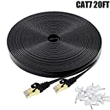 Cat7 Ethernet Cable 20 FT Black, BUSOHE Cat-7 Flat RJ45 Computer Internet LAN Network Ethernet Patch Cable Cord - 20 Feet