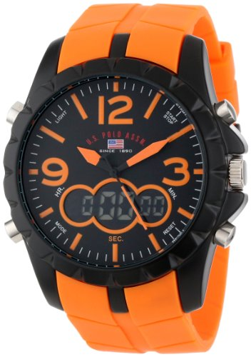 Sport Men's US9057 Black Metal Watch with Orange Rubber Band