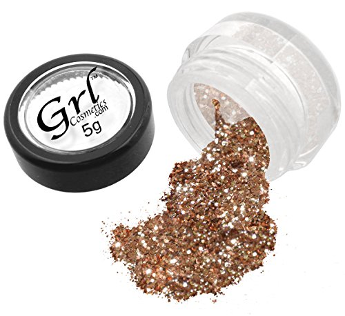 Face Eyes Nails Lips (Grl Cosmetics Cosmetic Glitter Makeup for Face, Eyes, Lips, Nails and Body - GL110 Rose Gold, 5 Gram Jar)
