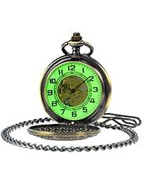 Vintage Bronze Flower Mens Pocket Watch Luminous Case Mechanical Hand Wind With Chain Box