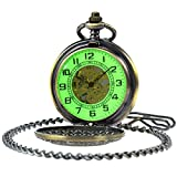 SIBOSUN Vintage Bronze Flower Mens Pocket Watch Luminous Case Mechanical Hand Wind With Chain Box