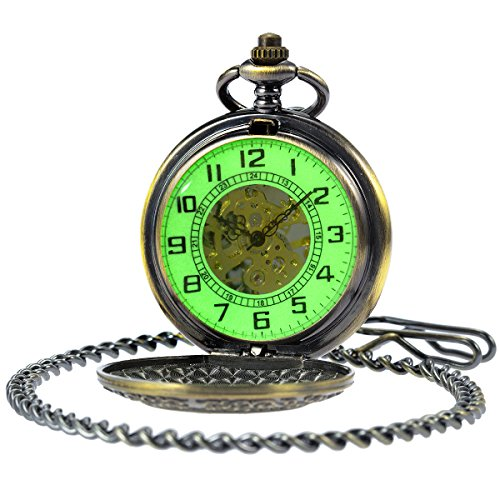 Wind Up 17 Jewels - SIBOSUN Vintage Bronze Flower Mens Pocket Watch Luminous Case Mechanical Hand Wind With Chain Box