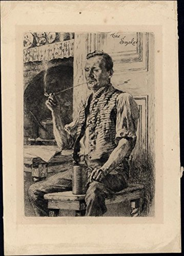 man Smoker sitting w/ tankard Beer c.1900 antique etching well done anonymous