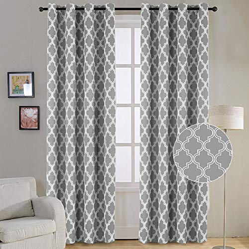 Curtain Geometric - Flamingo P Modern Moroccan Geometric Decor Curtains Print Thermal Insulated Blackout Curtains for Living Room 52W x 84L Inch Gray 1 Pair