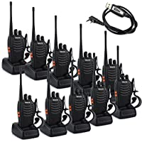 Retevis H-777 Walkie Talkie Single Band UHF 400-470MHz 3W 16CH CTCSS/DCS VOX With Earpiece Illumination Flashlight 2 Way Radio Transceiver Ham Radio (10 Pack)and USB Programming Cable