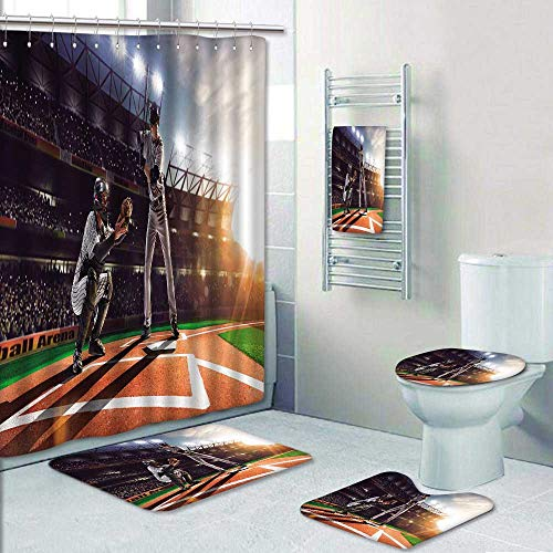 Philip-home 5 Piece Banded Shower Curtain Set Professional Baseball Players on The Grand Arena Pattern Adornment