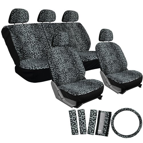 OxGord 17pc Leopard Seat Cover Set for the Ford Escort Coupe in Gray Leopard Print
