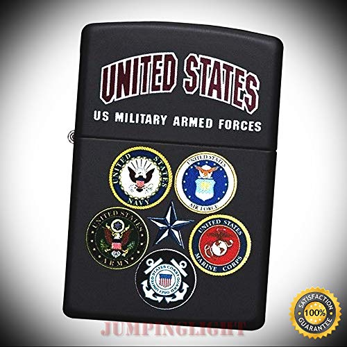 28898 US Military Armed Forces Windproof Black Matte Classic Lighter - Premium Lighter Fluid (Comes Unfilled) - Made in USA!