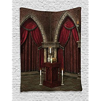gothic house decor tapestry wall hanging by ambesonne mysterious dark room in castle ancient pillars