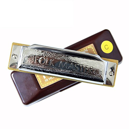Suzuki Folkmaster 1072-C Standard Beginner Diatonic Blues Harmonica Gaita 10 Holes Key of C Musical Instrument