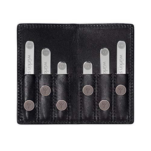 Collar Shirt Stiff - Wurkin Stiffs Power Stays Travel Set Assorted Size Magnetic Collar Stays in Black Leather Wallet