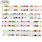 Thunaraz 110Pcs 14G Assorted Colors Mixed Barbells Body Piercing Nipple Tongue Rings Jewelry