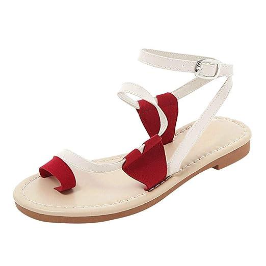 ba40d2f7a5e13 Amazon.com: Womens Summer Bohemia Flat Sandals Belt Buckle Beach ...