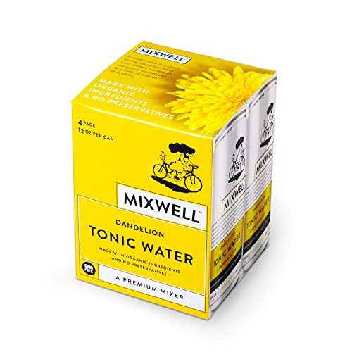 Mixwell Dandelion Tonic Water with Quinine - Premium Mixer for Drinks - Made with Organic and Natural Ingredients - 12 Fl Oz Can (4 Pack)