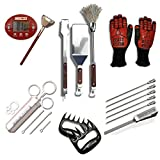 Grill Beast Ultimate Beastly BBQ Set - Perfect Barbecue Gift Set For The BBQ Chef In Your Family – Quality Stainless Steel BBQ Tools Meat Injector BBQ Gloves Skewers Meat Shredders & A BBQ Thermometer