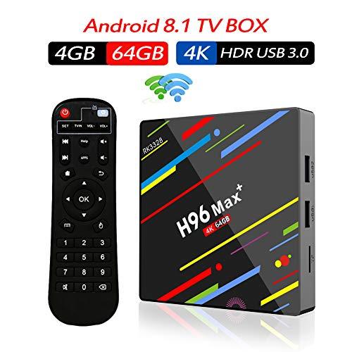 Android 8.1 TV Box with 4GB/ 64GB, RK3328 Quad Core 64bit Smart TV Box Bluetooth 4.0 Dual-Band WiFi Ethernet HDMI HD 4K Media Player Set Top Box 2019 Model