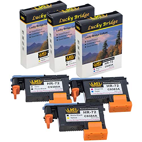 (LKB 1 set HP72 Remanufactured printheads C9380A C9383A C9384A with New Updated Chips compatible with HP Designjet T610 T620 T770 T790 T1100 T1120 1200 T1300 T2300 (1MK/Y+1C/M+1PK/G)-US)