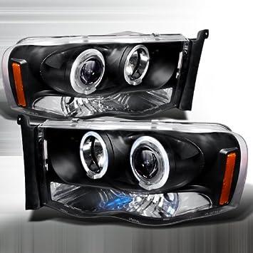 Amazon Com 02 03 04 05 Dodge Ram 1500 03 04 05 Ram 2500 3500 Halo Projector Headlights Black Pair Automotive