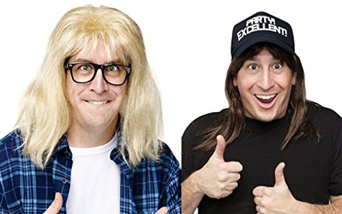 Faerynicethings Adult SNL Wayne's World Wig Kits - Costume Accessory - Wayne and Garth ()