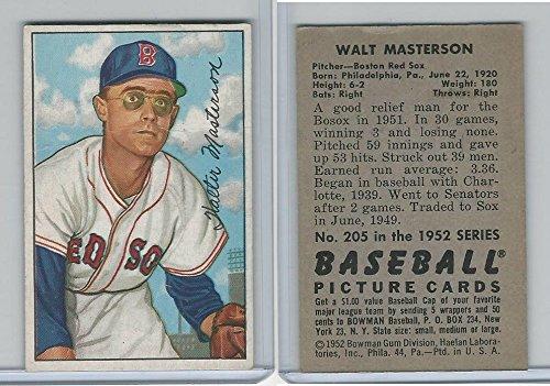 Red 1952 Boston Sox - 1952 Bowman Baseball, #205 Walt Masterson, Boston Red Sox