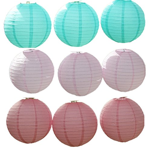 YueLian 9 Pack Christmas Party Decorative Paper Chinese Lanterns, Blue, Pink (24'' Diameter)