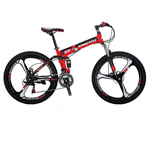 Kingttu KTG6 Mountain Bike 26 Inches 3 Spoke Wheels Dual Suspension Folding Bike 21 Speed MTB Red 2018