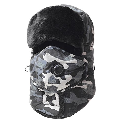 Trooper Trapper Hat,Winter Ski Hat with Winter Ear Flap and Ski Windproof Mask (Large Trapper)