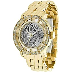 Moog Paris - Chameleon - Women / Men Automatic Watch with Skeleton dial, gold strap in stainless steel - - Made in France - M44694-012