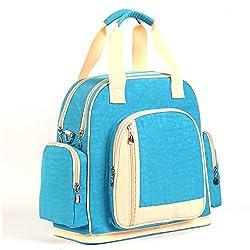 Luisvanita Diaper Bag - Changing Mat - Shoulder Bag Backpack Diaper Tote Bag (Blue+Apricot)