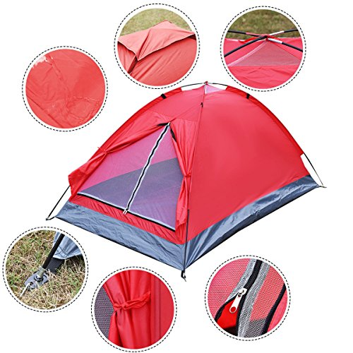 Camping Tent 2 Person, Waterproof Traveling Outdoor Hiking Double Layer Backpack, Red