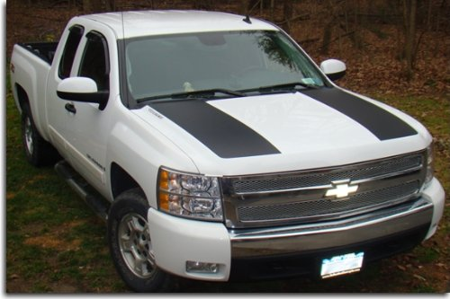 (Side Hood Stripes - 2007-2013 Silverado 1500 - (Color: Gloss Black))