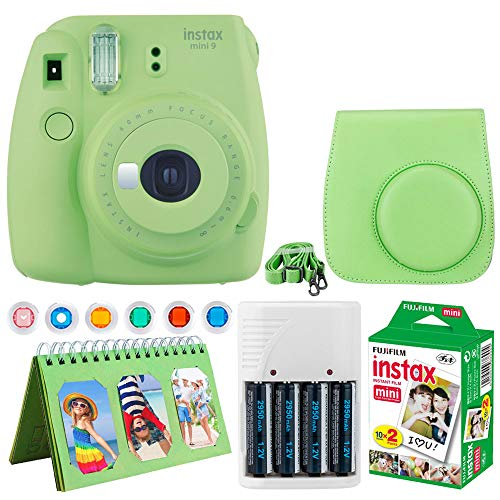 Fujifilm Instax Mini 9 Instant Camera (Lime Green) + Fujifilm Instax Mini Twin Pack Instant Film (20 Exposures) + Camera Case + Scrapbooking Album + 4 AA Batteries & Charger + 6 Colored Lens Filters