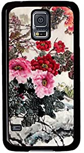 Chinese Painting Peony Cases for Samsung Galaxy S5 I9600 with Black Skin