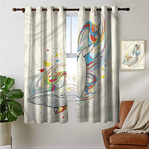 petpany Window Curtains Whale,Whale in Ocean Dive,Tie Up Window Drapes Living Room - Diva Tie