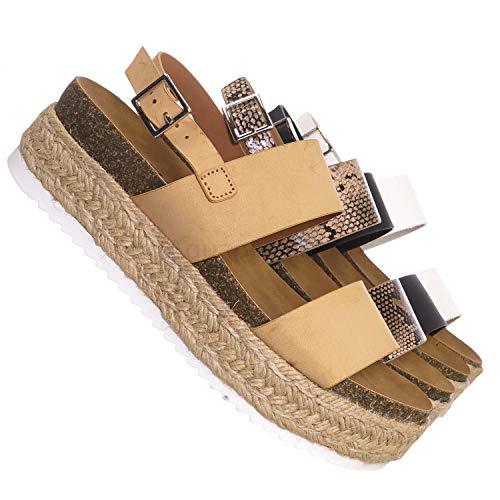 (70s Retro Jute Wrap Espadrille Flat Platform Flatform Sandal, Treaded Sole Nude Beige)